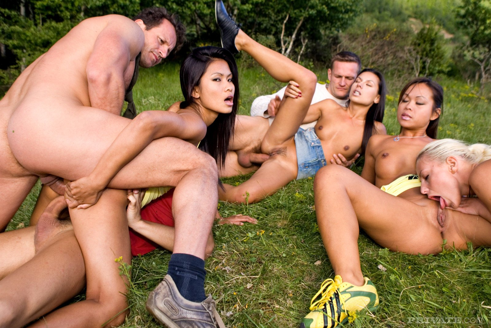 Asian white orgy